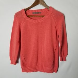 NY Collection Coral Eyelet Sweater